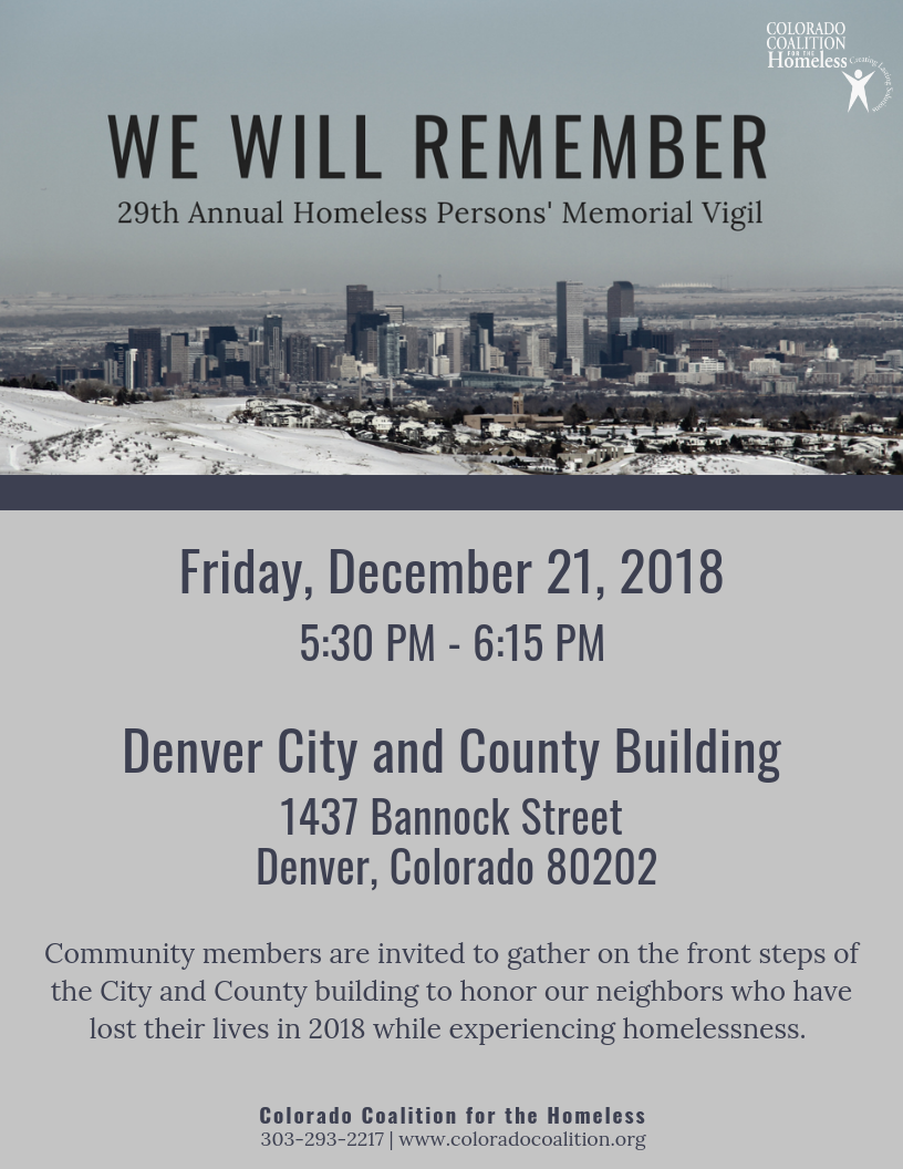 Memorial Vigil on December 21 at Denver City and COuncil building steps