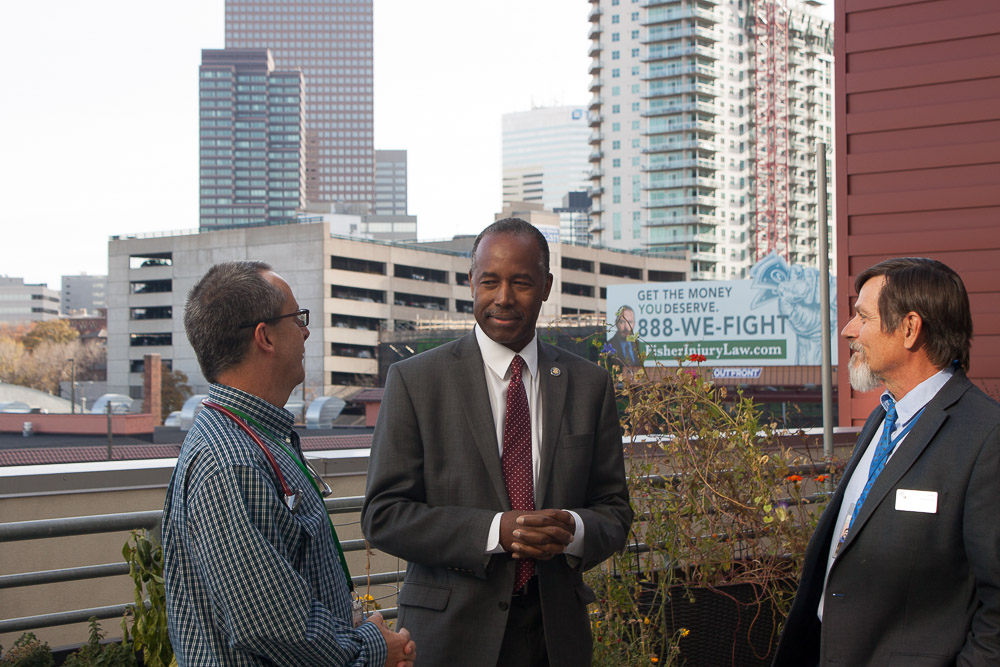 Ben Carson at the Stout Street Lofts with CCH staff