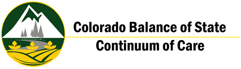 BoS CoC Logo - Background of mountains with a river flowing in to the Plains of Colorado. Balance of State Continuum of Care.