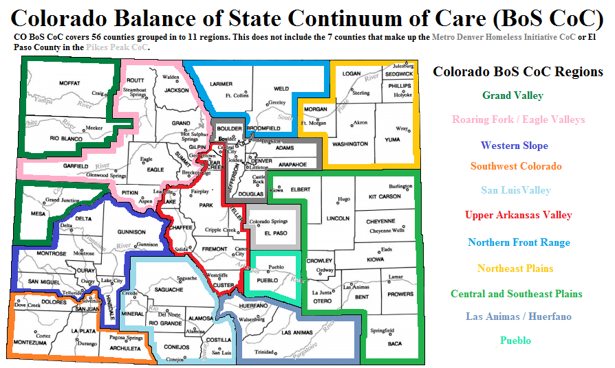 Map of the Colorado Balance of State Continuum of Care by 11 regions.
